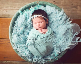 Baby Wrap - Cheesecloth Wrap - Newborn Wrap - Photography Prop - RUSTIC AQUA - Wrap - Swaddle - Prop