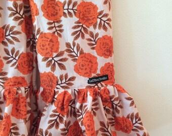 Girls Ruffle Pants- Orange Floral on Vintage Cream- size 4t