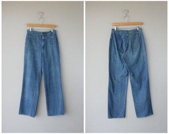 Vintage Wide Leg Jeans | 70s High Waisted Jeans | High Rise Jeans | 1970s Denim | 1970s Jeans
