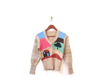BTS SALE Vintage 80s Colorful TOON Town Knit Retro Sweater xs