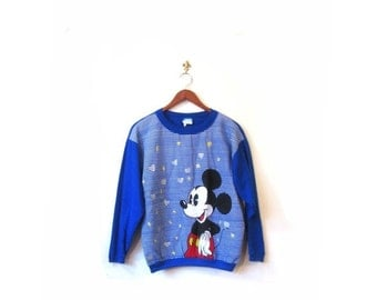 BTS SALE Vintage 80s Blue Mickey Mouse Screen Print Sweater xs s m