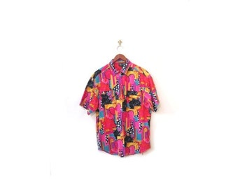 BTS SALE Vintage 80s Colorful Floral Polka Dot Abstract Button Up Boxy Blouse s m l