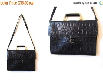 BTS SALE Vintage 80s Faux Leather CROC Stamp Shoulder Satchel Briefcase