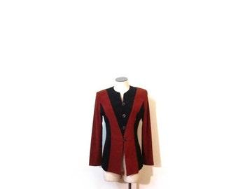 BTS SALE Vintage 90s STREAMLINED Minimalist Chocolate Brown & Black Faux Suede Button Up Blazer Jacket Top xs s m vestiesteam vegan eco frie