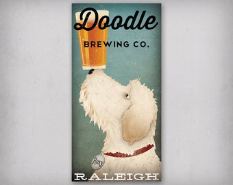 FREE Customization DOODLE Goldendoodle Labradoodle Brewing Company Beer Wine Coffee Team Sign Canvas Wall Art Ready-to-Hang