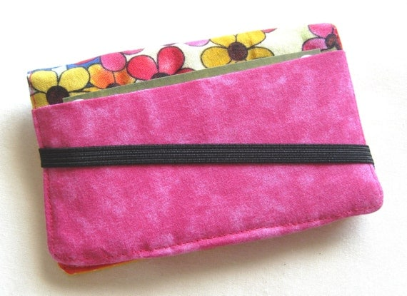 Business Card Holder Mini Wallet- Bifold Inside Outside Wallet in Bright Floral Flower Fabric Hippie Pink and Orange