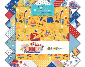 Summer Celebration 18 Fat Quarter  precuts by Riley Blake 100% cotton fabric for quilting