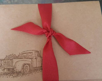 Farm Truck Kraft Notecards 5x7 cards with Rooster on the inside