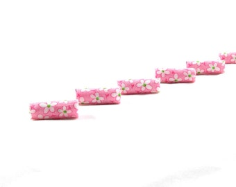 Handmade Fabric Beads Fiber Pink Textile Bugle Beads Fabric Big Hole Beads Large Hole in Floral Print in Pink White Green Spring Flowers