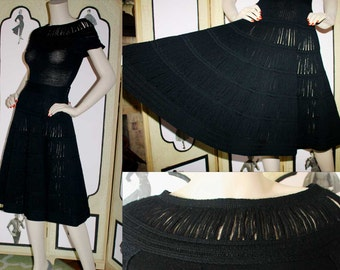 1950's Knit Skirt and Top in Soft Black Wool. Extremely Fine and Unique. You Will NOT See Its Equal. Small.