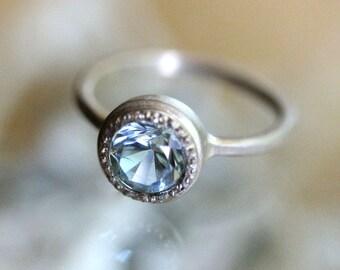 Aquamarine 14K Palladium White Gold Ring, Gemstone Ring, Milgrain Inspired, Eco Friendly, Engagement Ring - Made To Order