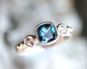 London Blue Topaz And White Sapphire Sterling Silver Ring, Gemstone Ring, Three Stones Ring, Engagement Ring, Stacking Ring -Made To Order