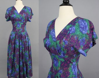 vintage 90s Rayon Dress / 1990s Painterly Floral Wrap Bodice Midi Dress / Extra Small XS