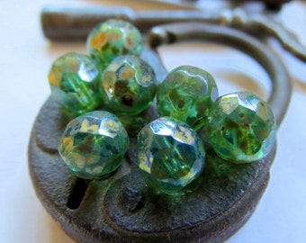 NEW . GREEN GLOW . Czech Fire Polished Picasso Glass beads (10 beads) 8 mm