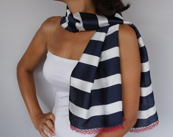 Designer Scarf, Navy Blue White Striped Nautical Coverup,  Italian Style, Burgundy Handmade Tatting Lace Trim, Shawl, Unique