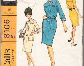 Vintage 1965 McCall's 8106 Sewing Pattern Misses' Dress in Two Versions Size 14 Bust 34