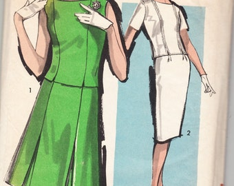 Vintage 1962 Advance 2884 Sewing Pattern Misses' Two-Piece Dress With Two Skirts Size 14 Bust 34