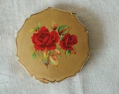 50s Stratton pressed powder mirror compact, painted roses