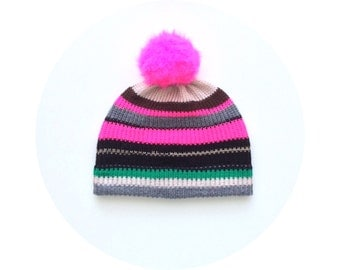 Pompom beanie hat, warm stripey winter accessory FREE SHIPPING