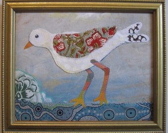 "Bird mixed media collage, fabric art 8""x10"" plus gold frame"