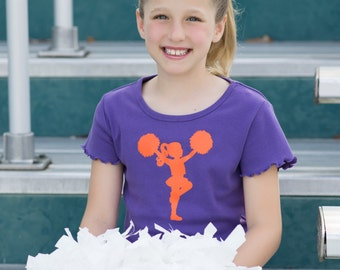 Little Cheerleader Nostalgic Graphic Tee - Purple with Orange