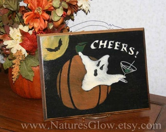 Halloween Ghost Sign -  Cheers - Halloween Sign - Ghost Decor- Halloween Decoration - Martini Decor - Bar Signage - Martini Drink- Halloween