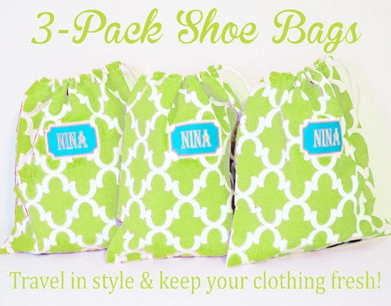 Brides Maid Gifts, 3 Shoe Bags, Personalized with Names or initials, 11 x 13 Makeup Bag, Lingerie Bag, Quatrefoil Fabric, Party Favor Bags
