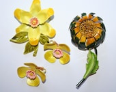 Lot of vintage enamel flower brooches and earrings in green and yellow - only pay POSTAGE on one listing