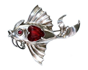 1930's Sterling Jeweled Fish Brooch