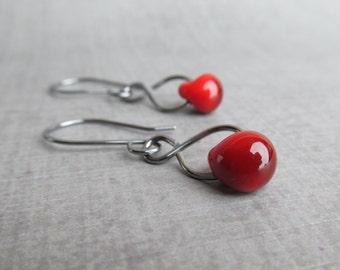 Blood Red Earrings, Red Glass Drop Earrings, Red Lampwork Earrings, Dark Red Dangle Earrings, Oxidized Sterling Earrings, Wire Earrings Red