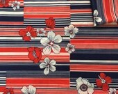Vintage Fabric 70's Polyester, Red, White, Blue, Striped, Floral, Textiles