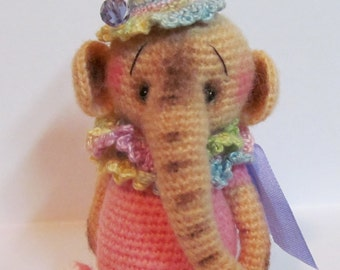 Miniature Crochet THREAD ARTIST  Elephant Pattern Penny by Joanne Noel of  Bayou Bears