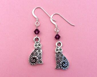 Cat earrings, silver cat earrings, cat charm, purple Swarovski crystals, custom colour, sterling silver earwires, cat lover gift idea UK