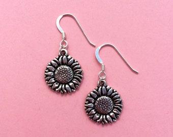 Silver sunflower earrings, flower earrings, silver flower earrings, sunflower jewellery