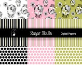 Sugar Skulls, Stripes and Polka Dot Digital Scrapbooking Papers in black and white, pink and green