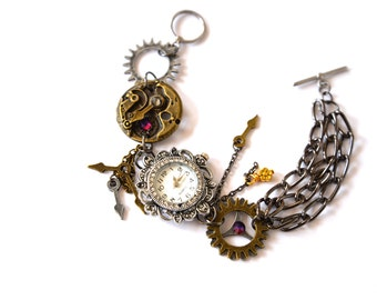 Bracelet Steampunk Watch jewelry cogs hands gears charms Swarovski crystal Jewellery