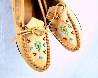 Unique Vintage Purple Mocs Fringe Leather Moccasins Shoes Loafers