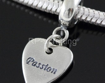 1 Authentic Sterling Silver Charm Love & Passion Bead For European Charm Bracelet #EC348