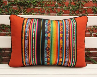 Lumbar Pillow with handwoven textiles, accents and cotton canvas