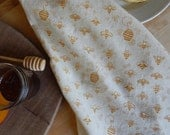Honey Bees Kitchen Towel, Handprinted, Natural Cotton, Choose Your Color, Honeybee