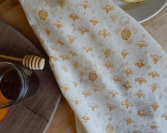 Kitchen Towel, Hand Printed, Honey Bees, Natural Cotton, Choose Your Color