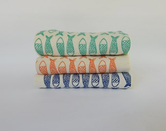 Flour Sack Towel, Hand Printed, Fish, Cotton