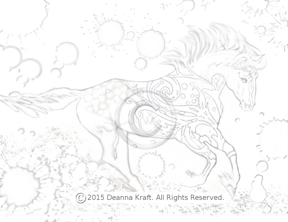 Flourish Horse Coloring Page Galloping With Design