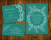 DIY- Floral Papercut, printable Wedding Invitation Suite with rsvp