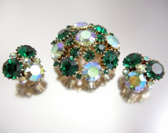 Weiss Signed Brooch and Earrings Green Rhinestones Aurora Borealis