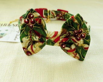 Christmas Cat Bow Tie With Break Away Collar
