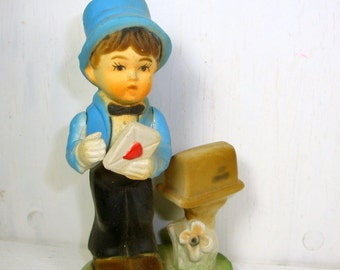 Vintage Hummel Like Ornament, Boy Figurine, Heart, Mailbox, Hard Molded Plastic, Blue Top Hat,  Made in Hong Kong  (781-15)