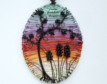 Pendant necklace wire sunset, summer fruits bramble blackberry jewellery, woven wire art tree & nature inspired, silhouette scene necklace