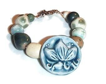 Ceramic Bead Bracelet. Handmade Ceramic Bead Bracelet. Ceramic Focal.  Lotus.  Smaller size.