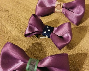 Purple Hair Bows - Set of 3